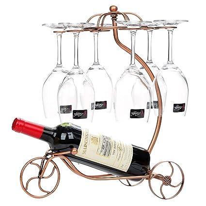 Botellero con soporte para 1 botellas de cristal y 6 Stem Ware, 33 * 29