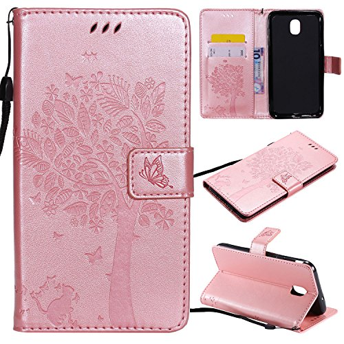 (ShinyZone Galaxy J7 2018 Leather Wallet Case, Cute Cartoon Embossed Cat & Tree Butterfly Pattern Magnetic Closure Stand Flip Case with Card Holder for Samsung Galaxy J7 2018,Rose Gold)