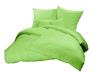 Genieße Den Schlaf Warme Biberbettwäsche Grün Uni Einfarbig