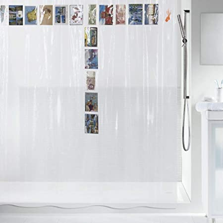 Spirella Postcard PEVA Plastic Transparent Shower Curtain With 20 Pockets For Storage 180 X 200
