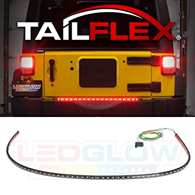"LEDGlow 36"" Red TailFlex Tailgate LED Light Bar with White Reverse Lights for Jeep & SUVs - Brake, Running, Turn Signals & Hazard Lights - Flexible Waterproof Strip - Flat 4 Pin Connector: Automotive"