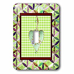 Beverly Turner Heart Design - Petal Shaped Quilt Look, Frame, Green Cloth Look Rose Heart, Ribbon - Light Switch Covers - single toggle switch (lsp_236961_1)
