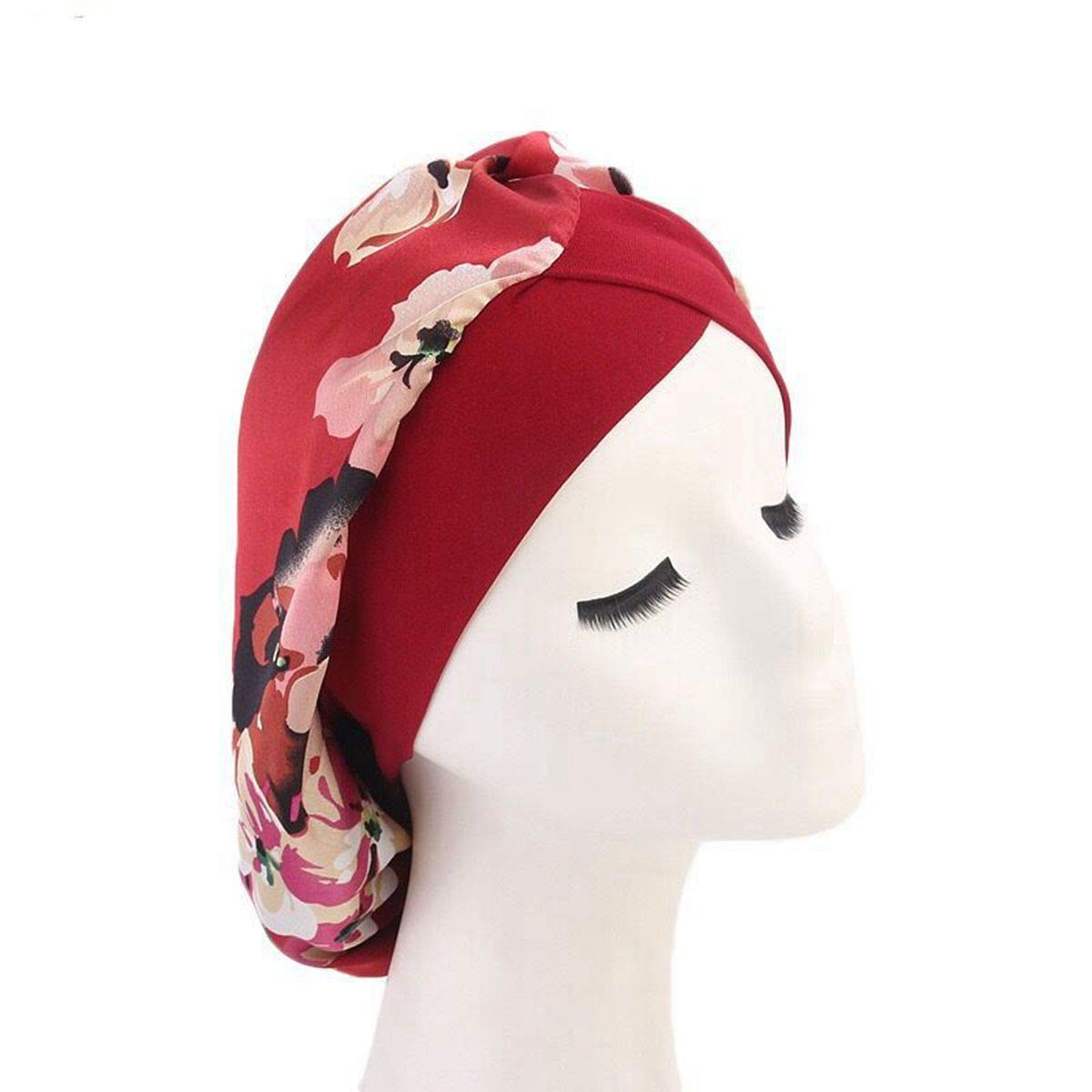 Women Satin Lined Sleep Bonnet Hair Cap Sleeping Slouchy Hat Slap Headwear for Curly Frizzy Hair