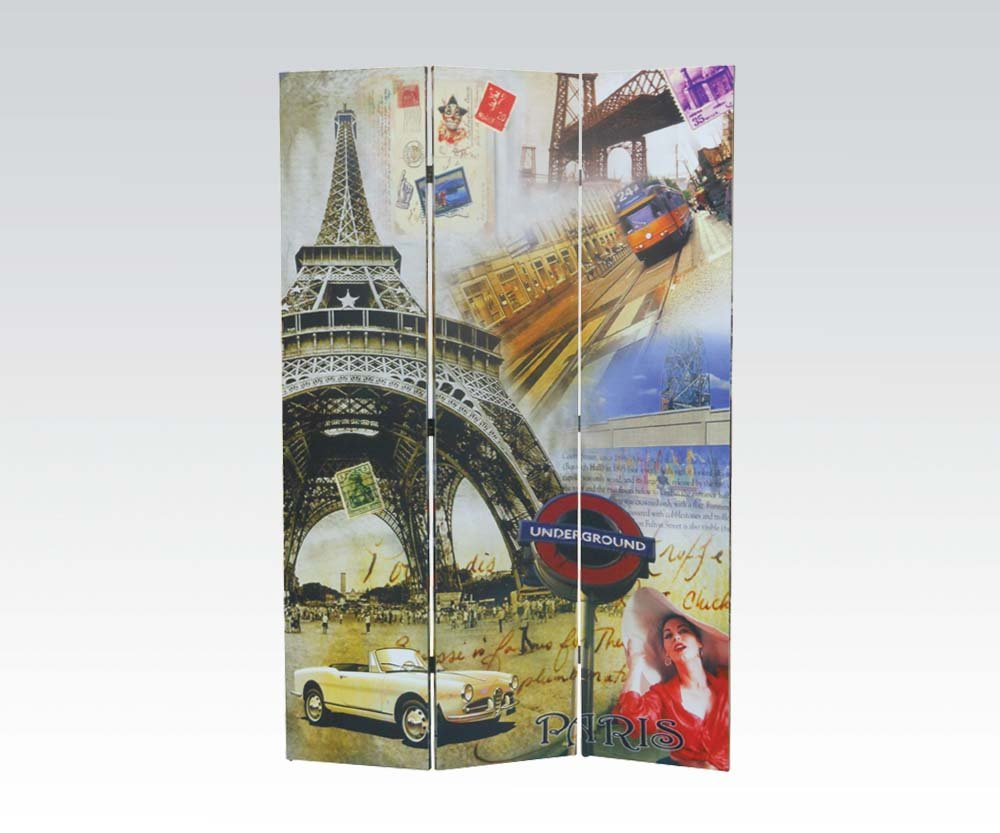 Brand New Trudy Paris (16''x3) x71''H Scenery Design 3-panels Wooden Screen Room Divider