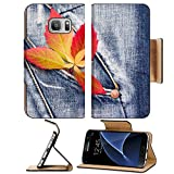 wall borders grapes - Luxlady Premium Samsung Galaxy S7 Flip Pu Leather Wallet Case IMAGE ID: 23072976 autumn leaves with of wild grapes on a denim background