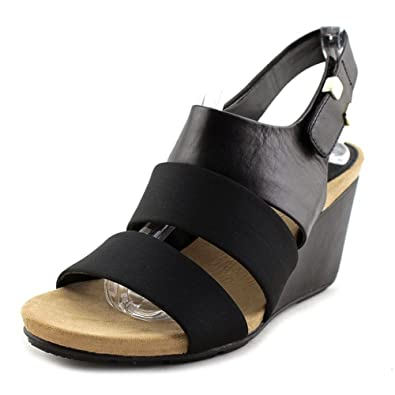 8fa19a52f5 Amazon.com   Alfani Elleana Women Open Toe Leather Black Wedge Heel ...