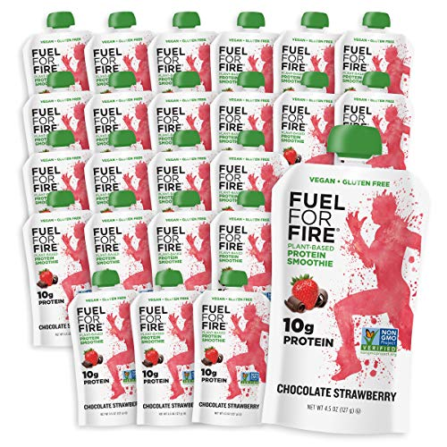 Fuel For Fire VEGAN - Chocolate Strawberry Smoothies (24 pack) with Vegan Protein |  Ready to Eat Squeeze Pouch | Soy Free, Lactose Free, Dairy Free, Plant-based Pea Protein, Gluten Free | On the Go
