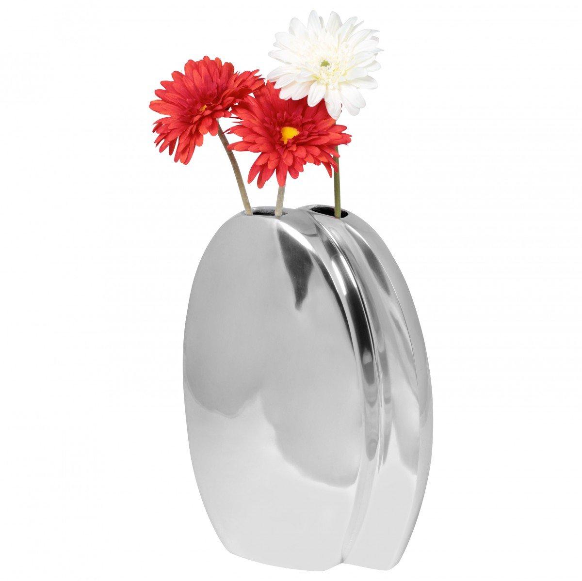 Wohnling Deko Vase groß Twin L, Aluminium modern mit 2 Öffnungen, silber, 37 cm