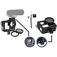 Aluminum Case Frame for GoPro Hero 3 3+ Hero 4 with 37mm UV Filter Skeleton Housing with Microphone Mic Mount for Go Pro Hero3 Hero4 Silver Hero3+ (Black) - Best Protection for GoPro By SublimeWare
