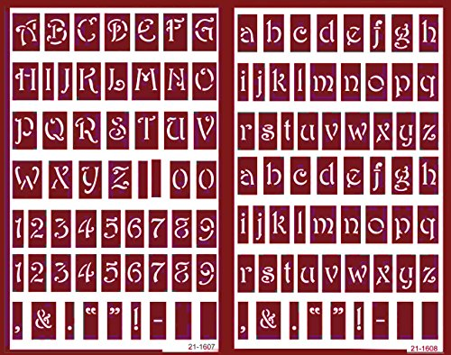 Over 'n' Over Reusable Self-Stick Etching Stencil for Glass (or Stamping) - Bundle of Two Sets - Lowercase Alphabet and Capital Letters with Numerals by Over n Over