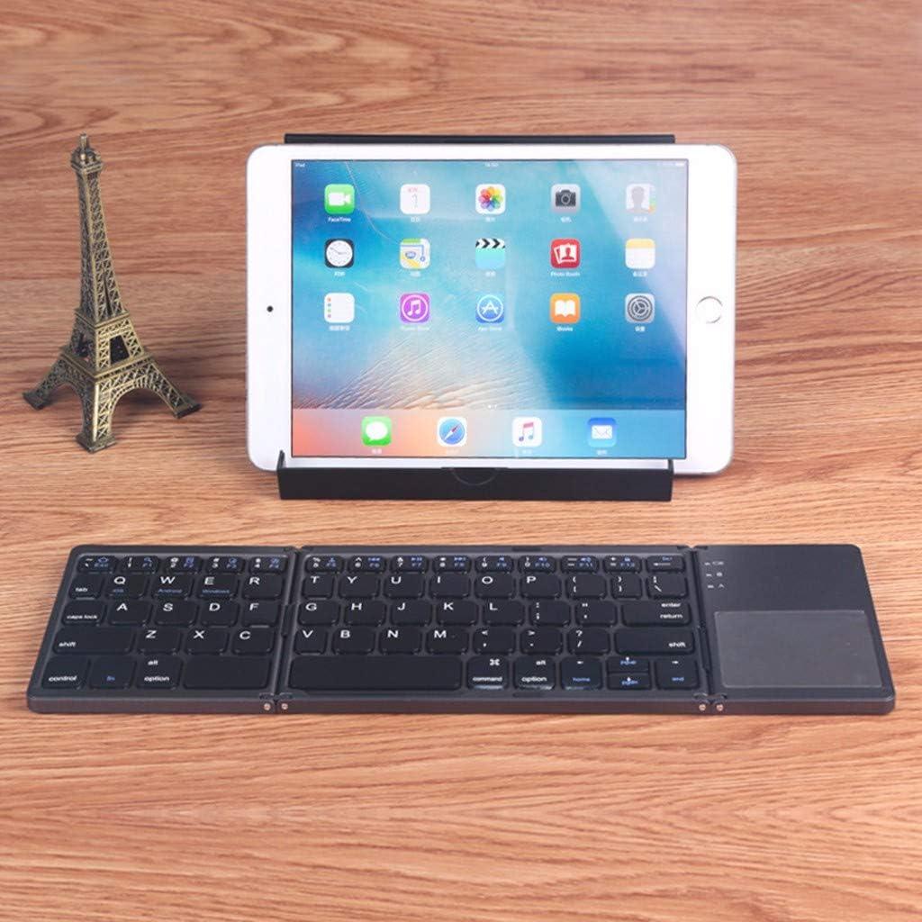 Vacally Wireless Bluetooth Folding Mini Keyboard Multi System Universal Wireless Bluetooth 3.0 Portable Office Keyboard Touchpad
