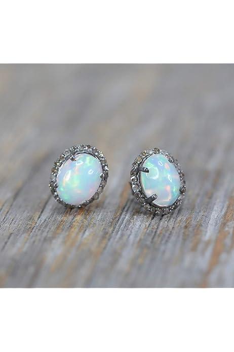 Oval Earrings Large Earrings Sterling Silver Dangle Earrings AG344 The Silver Plaza Nightfall/' Dendritic Opal Earrings