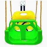 BBCare Columpio 3 en 1 Seguro con Mosquetones y Correas para Colgar para Niños y Adolescentes (Verde)