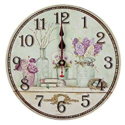 Swonda Decorative Silent Wood Clock Non Ticking Vintage Country Style Wall Clocks for Bedroom Kitchen Living Room Decorations (14 inch, Glass bottle)