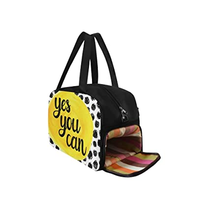 ... Amazon.com InterestPrint Inspirational Quotes Polka Dot Duffel Bag  Travel Tote Bag Handbag Luggage Travel ... 8a9ea47a562