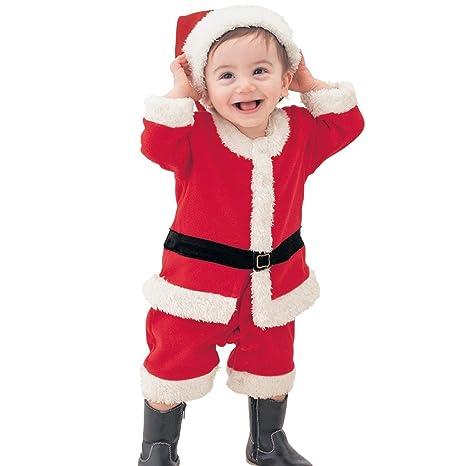 ARAUS Disfraces Chaqueta Conjuntos de 4Piezas Chico Navidad Fiesta Vestido + Pantalones + Gorro para Ninos