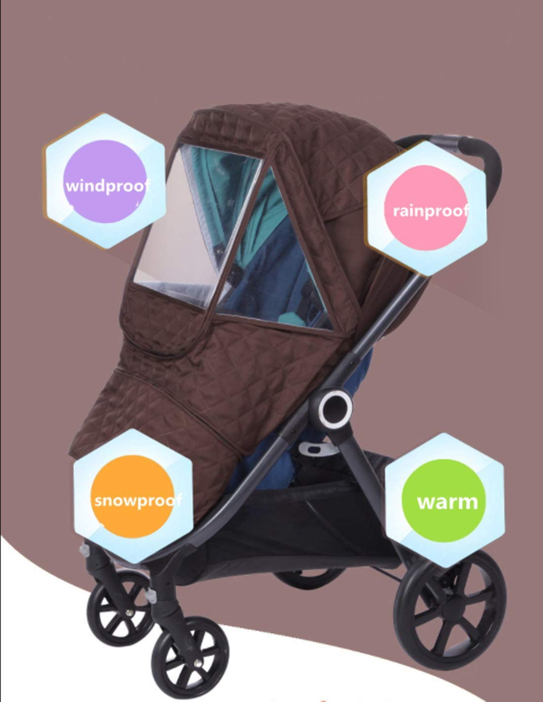 Universal Stroller rain Cover Baby Stroller Windshield rain Cover, Snow Cover, Warm Winter Sunshade Waterproof Cover (Brown Color) by Anglebay (Image #3)