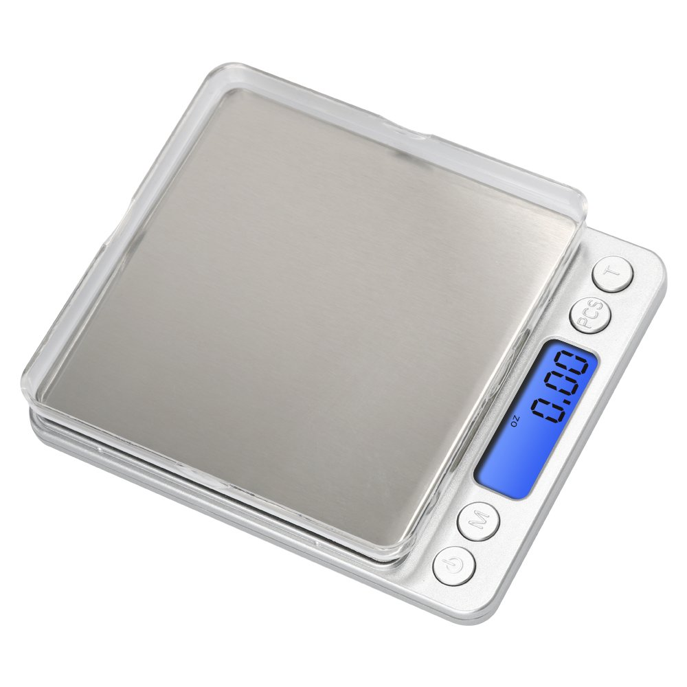 Anferstore 0.1Gram Precision Multifunction Kitchen and Food Stainless Steel Scale, Electronic Digital Balance Weight Pocket Scale 3000g-Silver