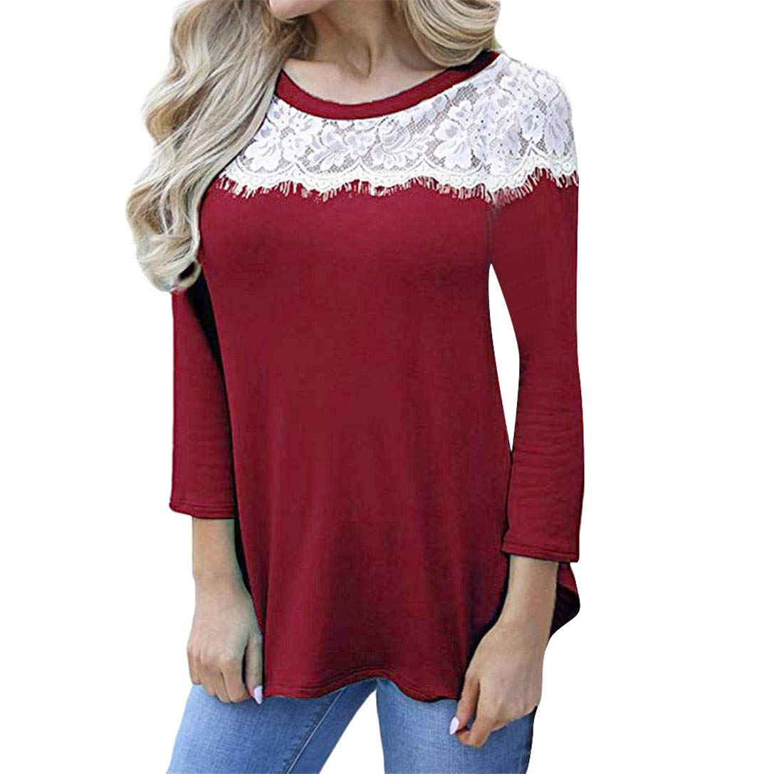 FRCOLT Women Casual Lace Stitching Crewneck Three Quarter Sleeve T-Shirt Tops Blouse