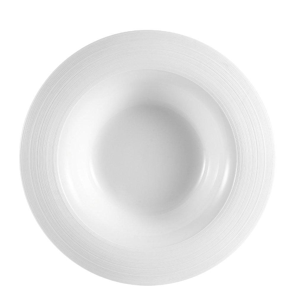 CAC China TST-F3 Transitions 9-1/2-Inch 12-Ounce Non-Glare Glaze Super White Porcelain Flore Pasta Bowl, Box of 12