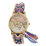 Souarts Womens Velvet Adjustable Weave Bracelet Round Wrist Watch