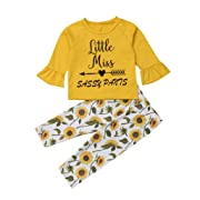 Baby Autumn Winter Casual Clothes Set 0-3T 🎅 Boys Girls Leisure Wear Cotton Flare Sleeve Tops Floral Pants Layettes (6-12 Months, Yellow)