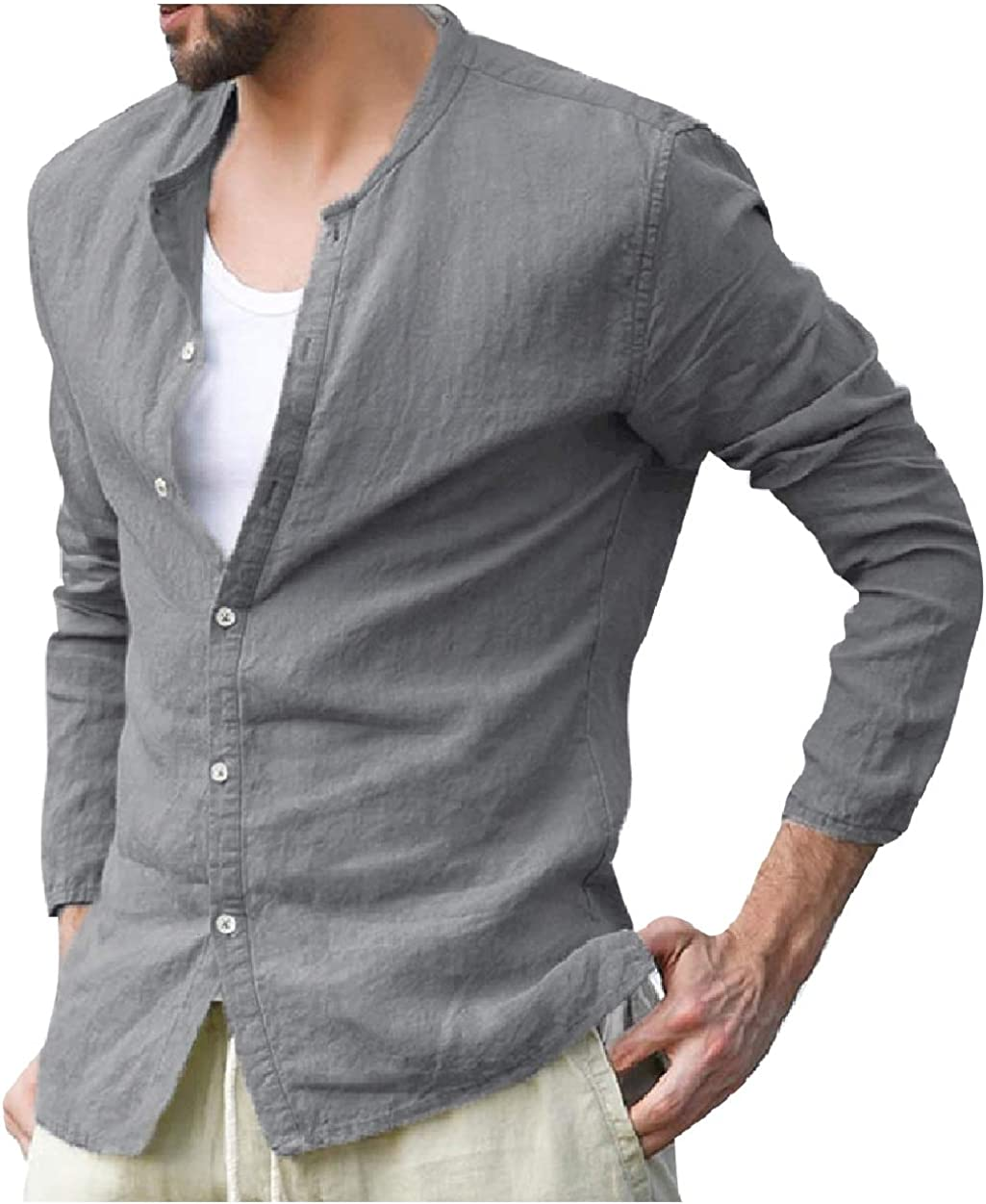 SportsX Men Casual Long Sleeve O-Neck Slim Fitted Comfy Western Shirt