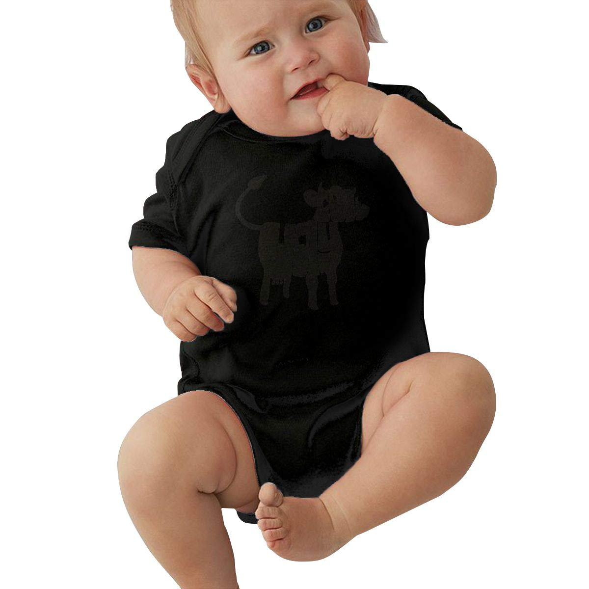 Infant Baby Girls Bodysuit Short-Sleeve Onesie Holy Cattle Print Outfit Spring Pajamas