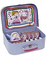 Jewelkeeper 15 Piece Kids Pretend Toy Tin Tea Set & Carry Case - Princess Unicorn Design