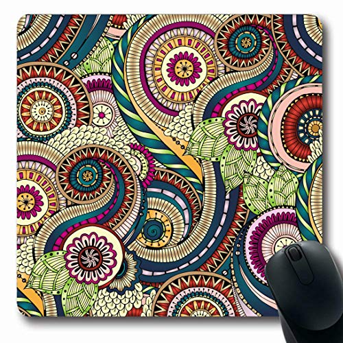 Ahawoso Mousepads for Computers Colour Paisley Floral Retro Pattern Indian Batik Wave Swirl Ocean Summer Design Oblong Shape 7.9 x 9.5 Inches Non-Slip Oblong Gaming Mouse Pad ()