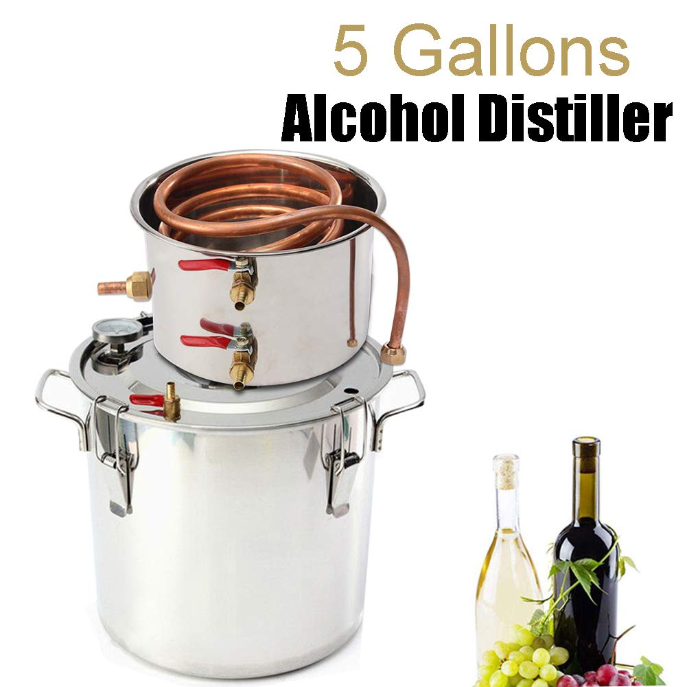 Vanell Home Use Moonshine Still Brewing Stainless Steel Distiller Water Wine Alcohol Distiller Distilling Equipment Copper Tube Boiler (2 Pots, 5 Gallon/ 20L) by Vanell