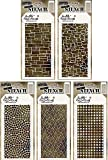 Tim Holtz - Stencils Set 11 - Five Item Bundle - Spring 2017 Release - Slate, Stone, Mosaic, Woven, and Grid Dot
