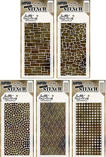 Stone Mosaic Tops - Tim Holtz - Stencils Set 11 - Five Item Bundle - Spring 2017 Release - Slate, Stone, Mosaic, Woven, and Grid Dot