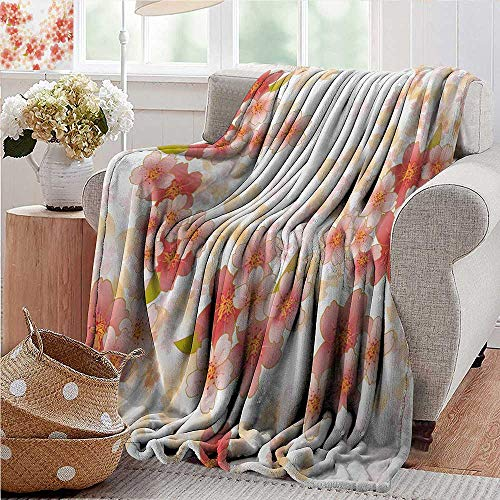 Soft Cozy Throw Blanket,Floral,Japanese Sakura Flowers Cherry Blossoms in Vibrant Colors Illustration,Coral Dark Coral Yellow,Couch/Bed ,Super Soft and Warm,Durable Throw Blanket 60