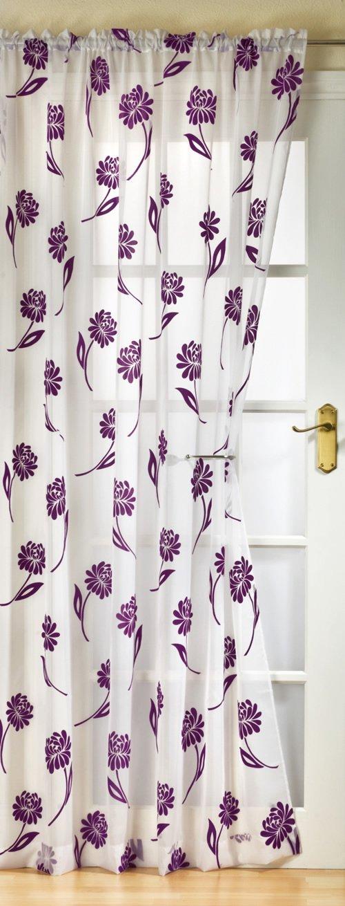 Sicily Voile Curtain Panel White / Purple 59x90: Amazon.co.uk ...