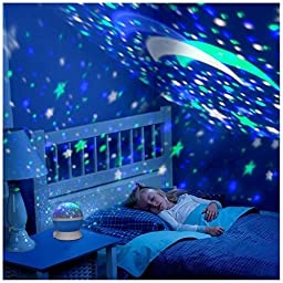 Petcaree Constellation Rotating Star Projector Lamp with 4 Colours and 360 Degree Moon Star Projection