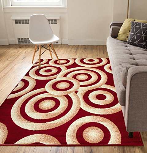 Bright Rings Red 8x10 82 X 910 Contemporary Abstract Modern Geometric Circles Thin Value Area Rug Perfect For Living Room Dining Family