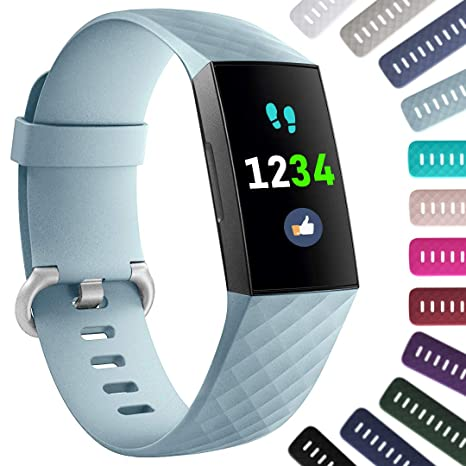 Ouwegaga Compatible for Fitbit Charge 3 Bands for Women Turquoise Small