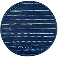 DII Contemporary Reversible Indoor Area Rag Rug, Machine Washable, Handmade from Recycled Fabrics, Unique For Bedroom, Living Room, Kitchen, Nursery and more, 48 Round - Nautical Blue