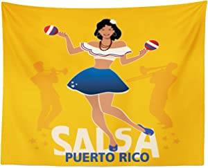 Lunarable Puerto Rico Tapestry, Salsa Dancing Girl with Maracas Trombonist and Trumpeter Silhouette on Backdrop, Fabric Wall Hanging Decor for Bedroom Living Room Dorm, 28