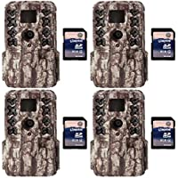 Moultrie M40 16MP 80 Video LowGlow IR Game Trail Cameras (4) + 8GB SD Cards (4)