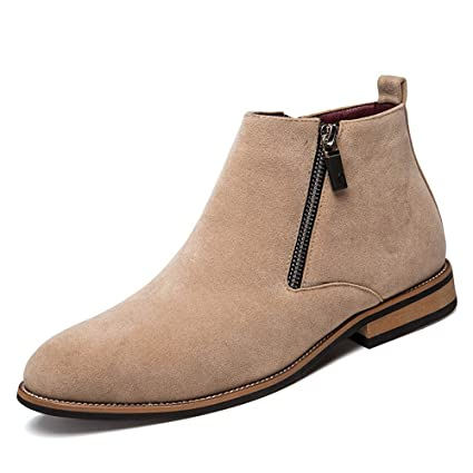 Xiaojuan-shoes, Botines de tacón Plano de los Hombres con Cremallera Lateral decoración Zapatos