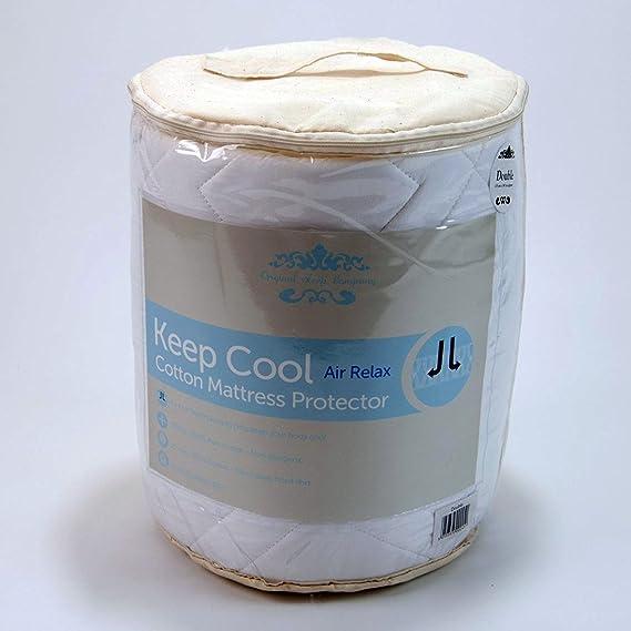 Protector de colchón de algodón natural transpirable, con tecnología 3D Air Relax, tela, cama individual: Amazon.es: Hogar