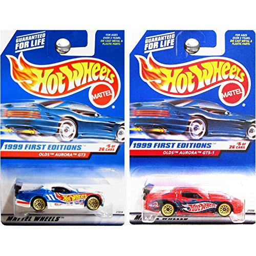 Hot Wheels 1999 First Editions #911 Oldsmobile Olds Aurora GT3 and GTS-1 in White and Red SET OF 2