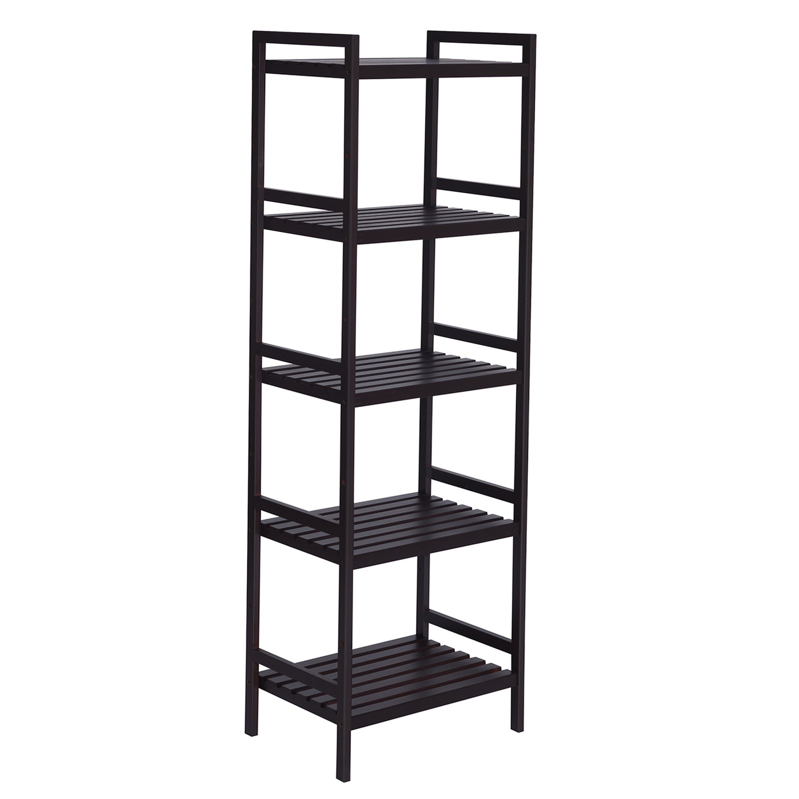 SONGMICS Adjustable Storage Shelf Rack,5-Tier Multifunctional Shelving Unit Stand Tower,Bookcase for Bathroom Living Room Kitchen 17.7 x 12.4 x 55.9, Holds up to 132 lbs Bamboo Brown UBCB75BR