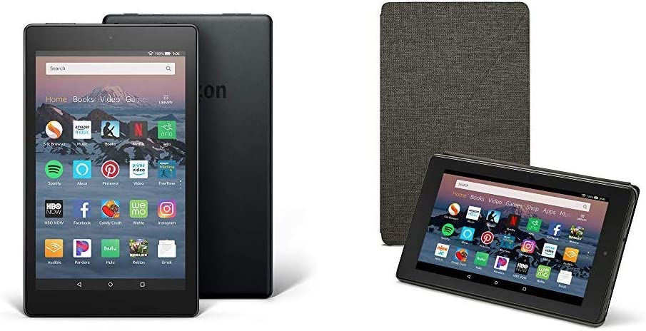 Charcoal Black Fire HD 8 Tablet Case Compatible with 7th and 8th Generation Tablets, 2017 and 2018 Releases