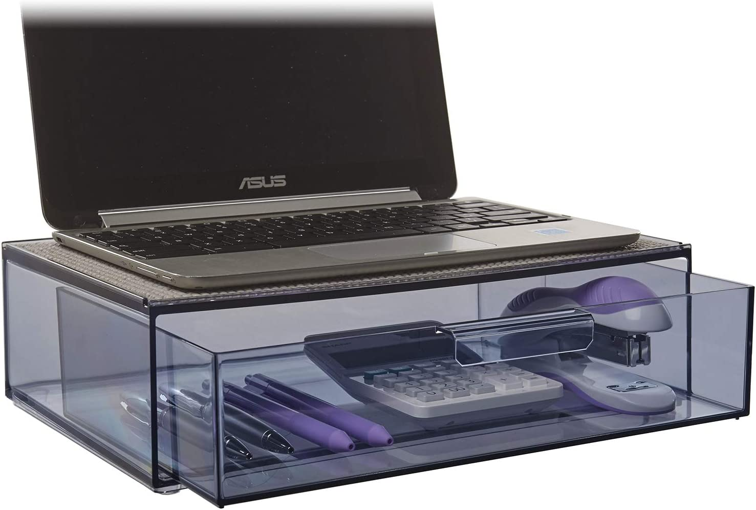 STORi Mod Compact Laptop Station with Drawer | Cadet Grey