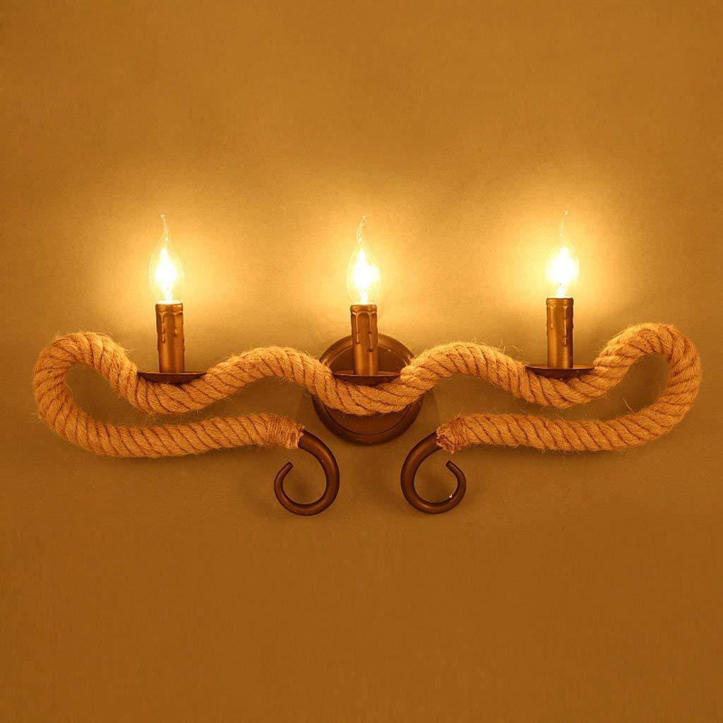 FXING Wandleuchten Wandleuchten rustikal Messing antik hängende Wand Wandleuchte Gezwirnter Hanfseile 3 E14 Kerze leuchtet