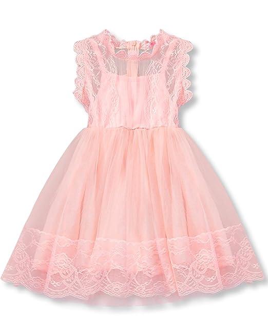 NNJXD Chica Encaje Sin Mangas Gasa Impreso Vestido de Fiesta Talla(90) 1-