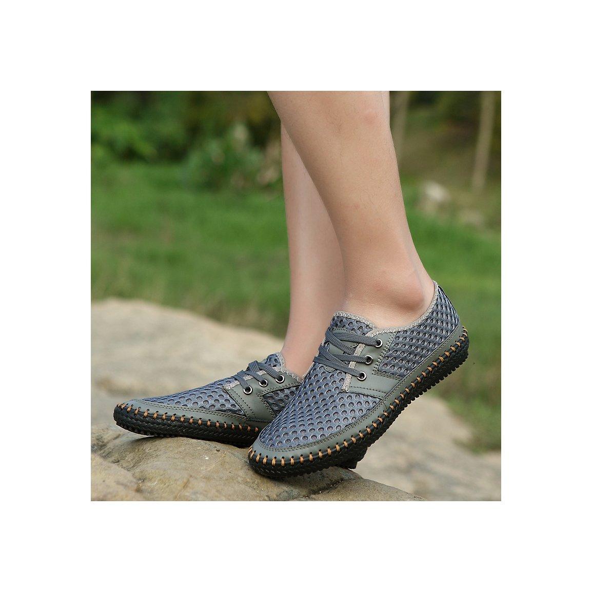 MOHEM Men's Poseidon Casual Water Shoes Mesh Walking Quick Drying Hiking Shoes(3166Gray41)